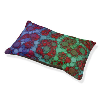 Turquoise Red Cheetah Abstract Pet Bed