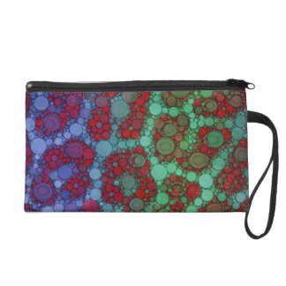 Turquoise Red Cheetah Abstract Wristlet Purse
