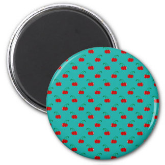 Turquoise red cherry pattern fridge magnet