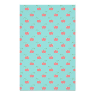 Turquoise red cherry pattern stationery