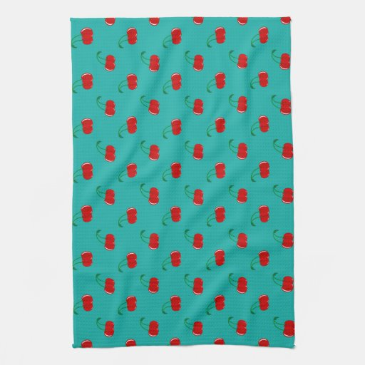 Turquoise red cherry pattern towel