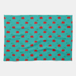 Turquoise red cherry pattern towels