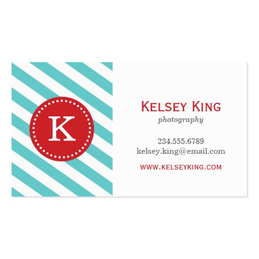 Preppy business card templates page7 bizcardstudio preppy turquoise red chevron stripes monogram business cards colourmoves