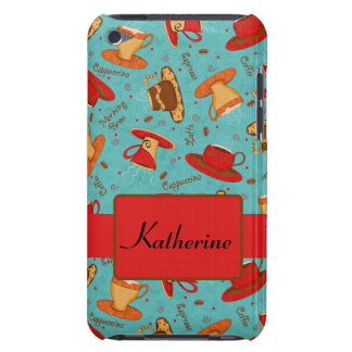 Turquoise & Red Coffee Cup Pattern Personalized Barely There iPod Cover