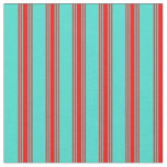 [ Thumbnail: Turquoise & Red Colored Lines Pattern Fabric ]