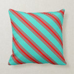 [ Thumbnail: Turquoise & Red Colored Lines Pattern Throw Pillow ]