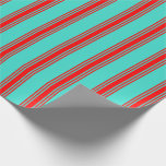[ Thumbnail: Turquoise & Red Colored Lines Pattern Wrapping Paper ]