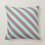 [ Thumbnail: Turquoise & Red Colored Pattern of Stripes Pillow ]