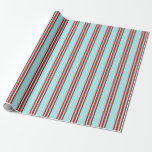 [ Thumbnail: Turquoise & Red Colored Pattern of Stripes Wrapping Paper ]