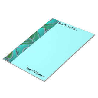 Turquoise red colorful pattern note pad