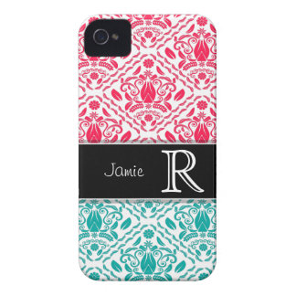 Turquoise & Red Damask Personalized iPhone 4/4s iPhone 4 Case-Mate Case