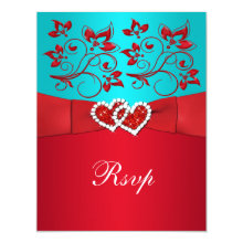 Turquoise, Red Floral, Hearts Wedding Reply Card