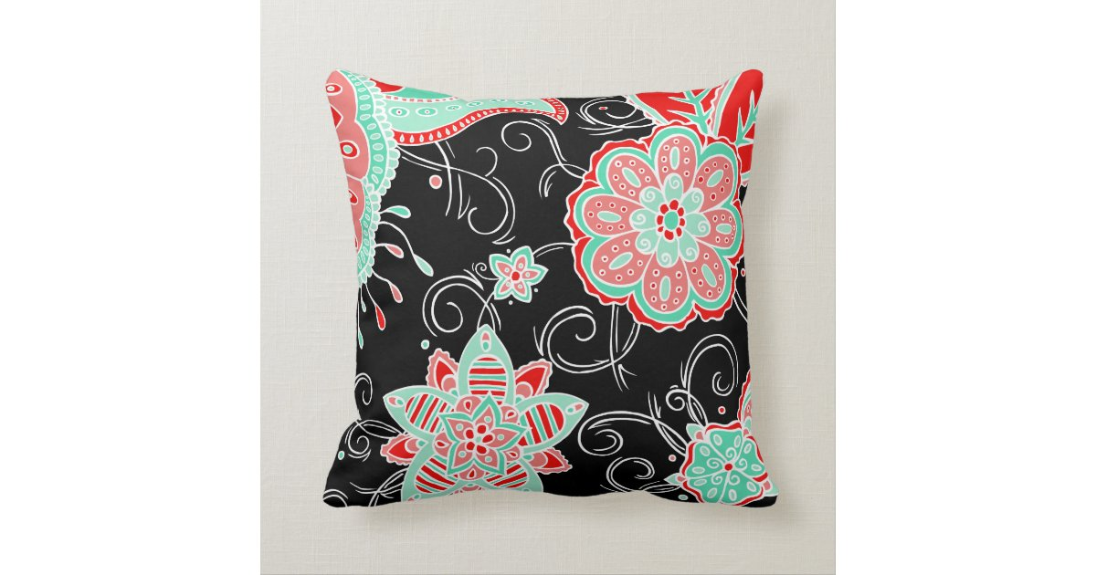 Turquoise & Red Floral Throw Pillow