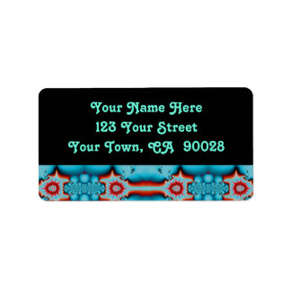 turquoise red fractal label
