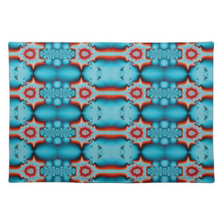 turquoise red fractal pattern place mats