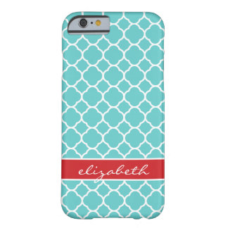 Turquoise & Red Modern Quatrefoil Custom Monogram Barely There iPhone 6 Case