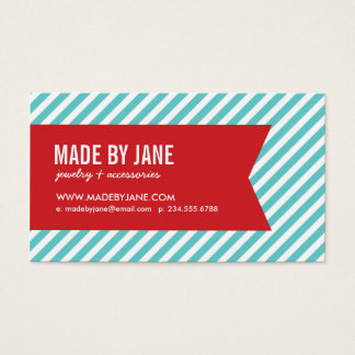 Turquoise & Red Modern Stripes & Ribbon Business Card