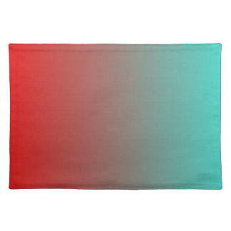 Turquoise Red Ombre Cloth Placemat