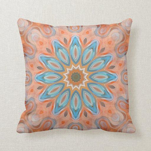 Turquoise Red Orange Mandala Round Sun Pattern Throw Pillow Zazzle