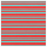 [ Thumbnail: Turquoise & Red Pattern of Stripes Fabric ]