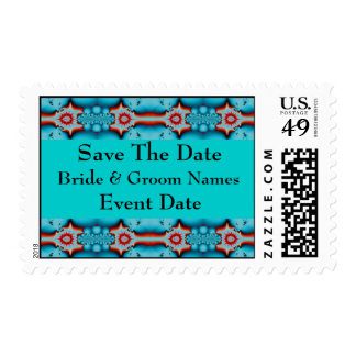turquoise red  save the date postage