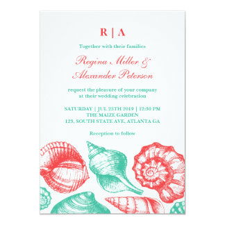 Turquoise Red Seashells Beach Wedding Invitation