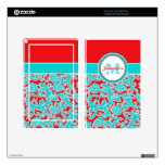 Turquoise, Red, White Damask Kindle Fire Skin
