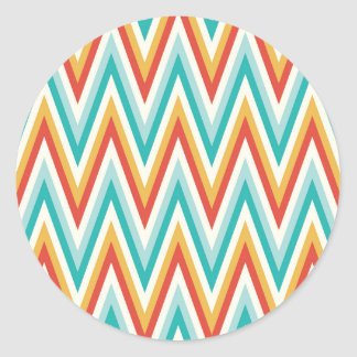 Turquoise Red Yellow Zig Zag Chevron Stripes Classic Round Sticker