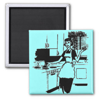 Turquoise Retro 50s Housewife in the Kitchen 2 Inch Square Magnet