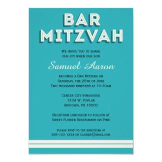Turquoise Retro Bar Mitzvah Invitations