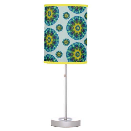 Turquoise Retro Mandala Desk Lamp