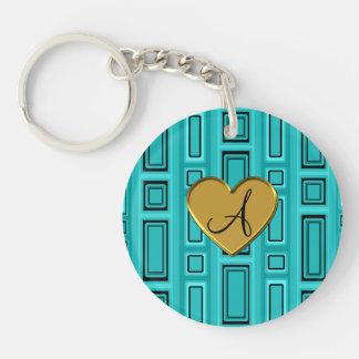 Turquoise retro squares monogram Double-Sided round acrylic keychain