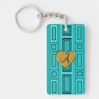 Turquoise retro squares monogram Single-Sided rectangular acrylic keychain