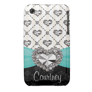 Turquoise Rhinestone Heart iPhone 3 Case Mate