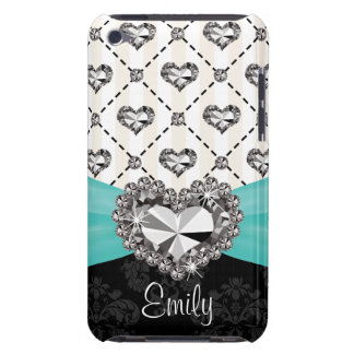 Turquoise Rhinestone Heart iPod Touch 4 Case Mate