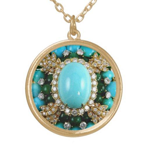 Turquoise rhinestone vintage costume jewelry charm zazzle for Turquoise colored fashion jewelry