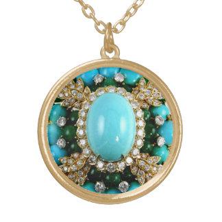 Turquoise Rhinestone Vintage Costume Jewelry Charm