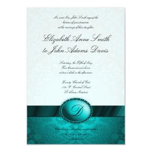 Turquoise Ribbon Damask Wedding Invitation 5