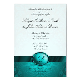 Turquoise Ribbon Damask Wedding Invitation