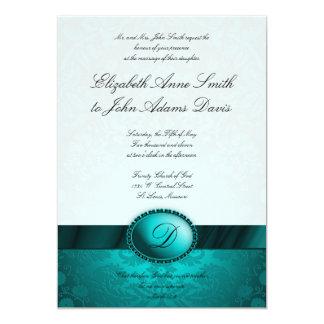 Turquoise Ribbon Damask Wedding Invitation