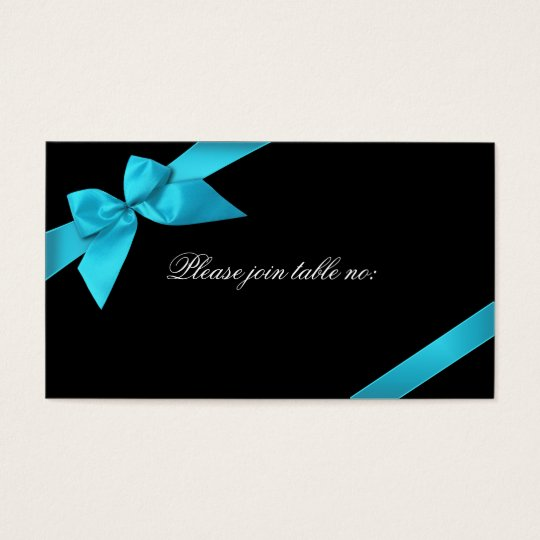 Turquoise Ribbon Guest Table Place Card