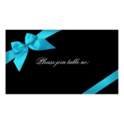 Turquoise Ribbon Guest Table Place Card Business Card Template