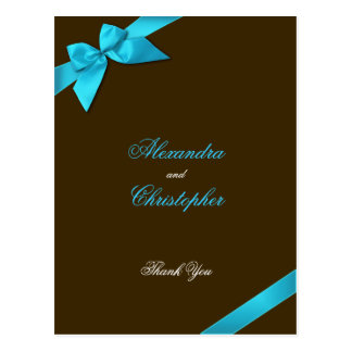 Turquoise Ribbon on Brown Thank You Postcard