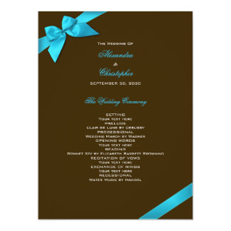 Turquoise Ribbon on Brown Wedding Program Personalized Invite