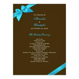 Turquoise Ribbon on Brown Wedding Program 6.5x8.75 Paper Invitation Card