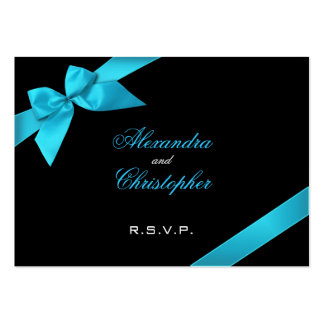 Turquoise Ribbon RSVP Minicard Business Card Templates