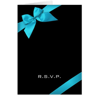 Turquoise Ribbon RSVP Note Cards
