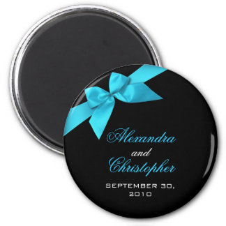 Turquoise Ribbon Save The Date Wedding Announce 2 Inch Round Magnet