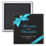 Turquoise Ribbon Save The Date Wedding Announce 2 Inch Square Magnet