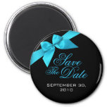 Turquoise Ribbon Save The Date Wedding Announce Magnet